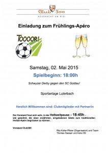Frühlings Apèro Einladung  02.05.2015
